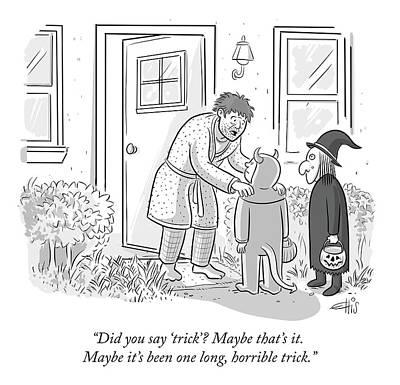 Drawing - One Long Horrible Trick by Ellis Rosen