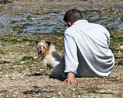Photograph - One Man And His Dog On The Beach by Terri Waters