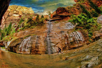 Photograph - One Man One Zion Riverside Walk by Blake Richards