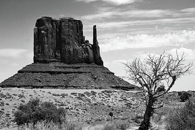 Photograph - One Mitten Of Monument Valley Arizona - Black And White by Gregory Ballos