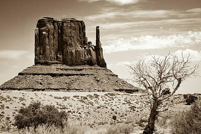 Photograph - One Mitten Of Monument Valley Arizona - Sepia by Gregory Ballos
