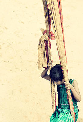 Child Swinging Photograph - One Moment by Tim Gainey