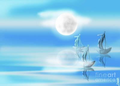 One Moon Light Sea Art Print by Artist Nandika Dutt