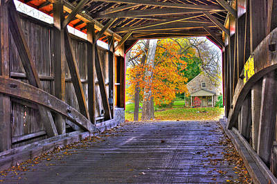 One More Bridge To Cross, Then Home - Poole Forge Covered Bridge No. 6a - Lancaster County Pa Art Print