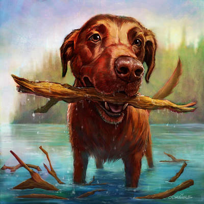 Chocolate Lab Painting - One More Throw by Sean ODaniels