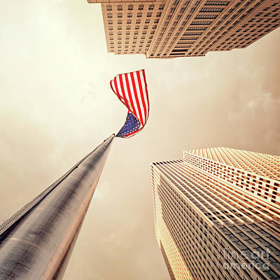 Flag Pole Photograph - One Nation by Evelina Kremsdorf