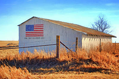 Iowa Farm Photograph - One Nation Under God - Barn by Nikolyn McDonald