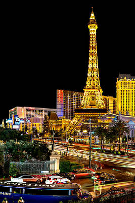 Paris Skyline Photograph - One Night In Vegas by Az Jackson