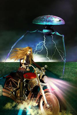 Scifi Mixed Media - One Night On The Road by Emma Alvarez