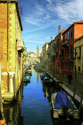 one of the many Venetian canals on a Sunny summer day Art Print
