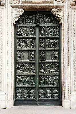 Photograph - one of the portals of the Duomo Cathedral  by George Westermak