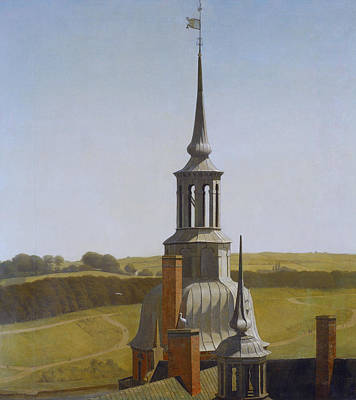 Painting - One Of The Small Towers On Frederiksborg Castle by Christen Kobke