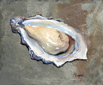 Half Shell Painting - One Oyster by Elaine Hodges