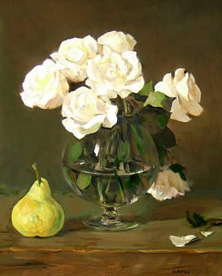 Painting - One Pear, A Brandy Snifter And Seven White Roses by Robert Holden