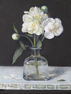 Painting - White Peonies On One Stem In Tequilla Bottle by Robert Holden