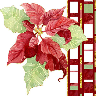 Poinsettias Painting - One Perfect Poinsettia Flower W Modern Stripes by Audrey Jeanne Roberts