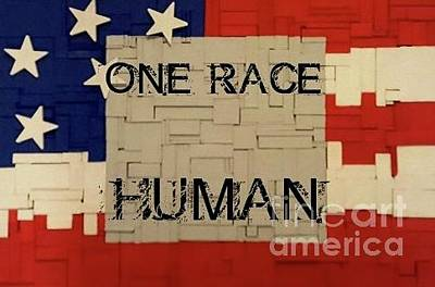 Racism Mixed Media - One Race by Judith Finch