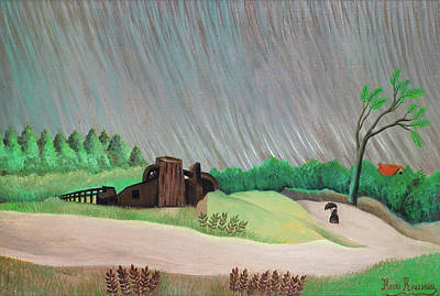 Shower Painting - One Rainy Morning by Henri Rousseau