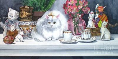 One Real Cat And Several Faux Kitties Art Print