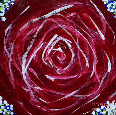 Painting - One Red Rose And Baby's Breath by Jackie Carpenter