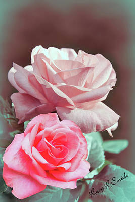 Digital Art - One Red Rose And One Pink Rose.. by Rusty R Smith