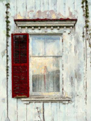 Photograph - One Red Shutter Old Window by Janine Riley