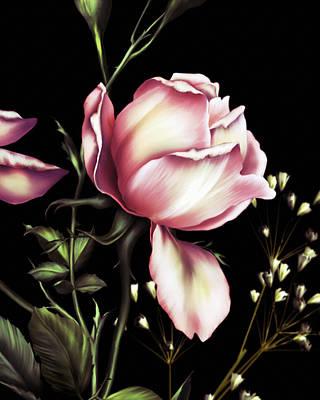 Digital Art - One Rose Bloom On Black by Georgiana Romanovna