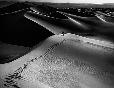 Sand Dunes Photograph - One Set Of Footprints by Simon Chenglu