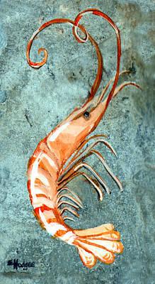 One Shrimp Art Print by Elaine Hodges