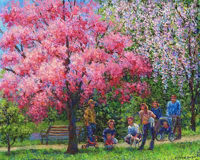 Park Benches Painting - One Spring Morning by Susan Savad