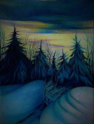 Drawing - One Step To The Winter Evening by Anna Duyunova