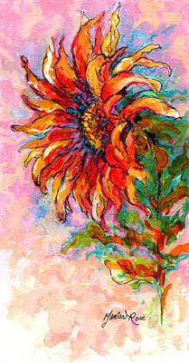 Pen Painting - One Sunflower by Marion Rose