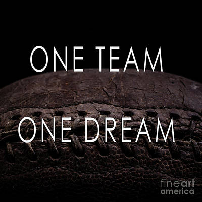 Footballs Closeup Photograph - One Team One Dream Football Poster by Edward Fielding