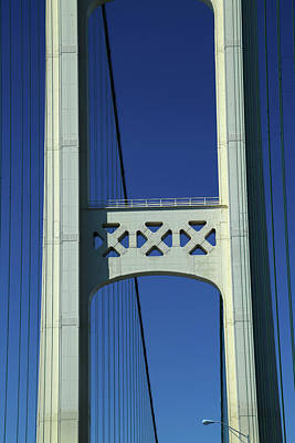 Photograph - One Tower Mackinac Bridge by Mary Bedy