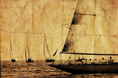 Photograph - One Two Tree - Vintage Processed Photo Of A Sailboat Regatta In The Mediterranean Sea by Pedro Cardona