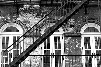 Nyc Fire Escapes Photograph - One Way Down In Downtown by John Rizzuto