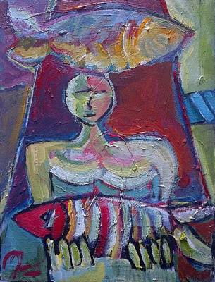 Arniston Painting - One Woman With Two Fish by Andre Loch Fourie
