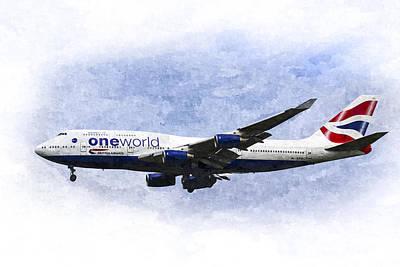 Airways Digital Art - One World Boeing 747 Art by David Pyatt