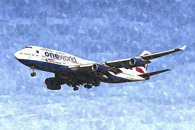 Airways Digital Art - One World Boeing 747 Art Image by David Pyatt