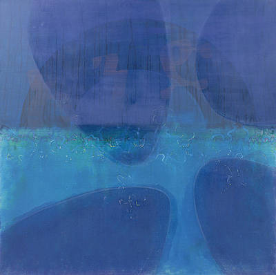 Blue Abstracts Painting - One World by Charlie Millar