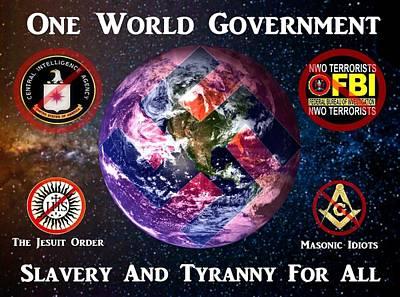 One World Government - Slavery Art Print
