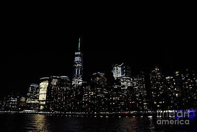 Photograph - One World Trade Center, Battery Park City, Goldman Sachs At Night. by Tom Wurl