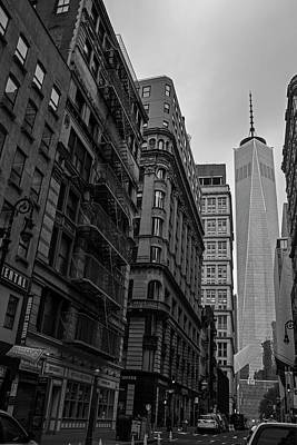 Photograph - One World Trade Center New York Ny From Nassau Street Black And White by Toby McGuire