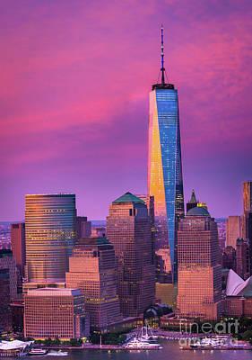 One World Trade Center Sunset Art Print by Inge Johnsson