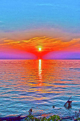 Digital Art - Oneida Lake Sunset Art by David Stasiak