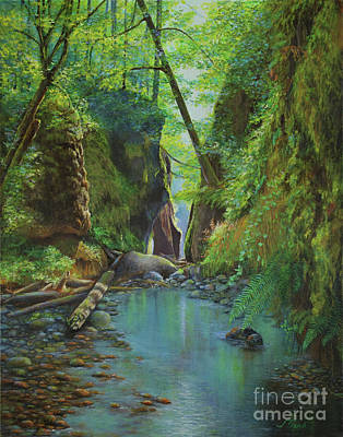 Water Filter Painting - Oneonta Gorge by Jeanette French