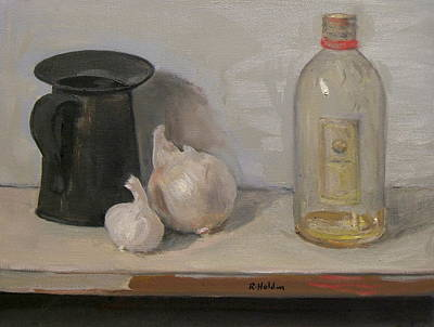 Onion And Garlic,tin Can, And Painting Medium Bottle Original