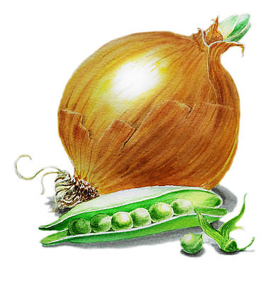 Vegetables Wall Art - Painting - Onion And Peas by Irina Sztukowski