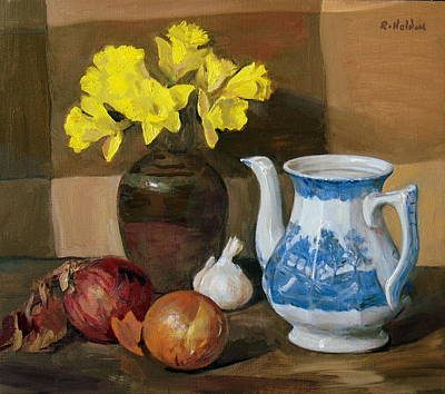 Painting - Onions And Daffodils by Robert Holden