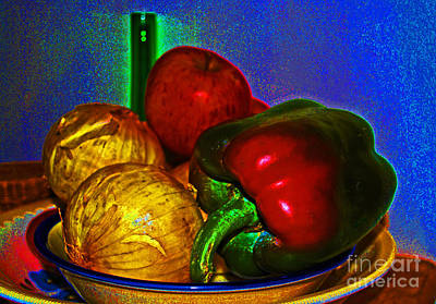 Digital Art - Onions Apples Pepper by George D Gordon III